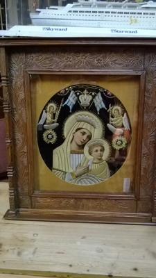 FUN #4032 ANTIQUE HAND EMBROIDERED MADONNA ICON (1).jpg