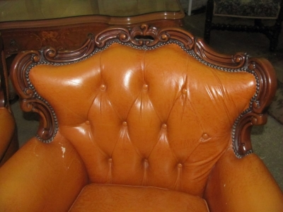 15A12109 PAIR OF LOUIS XV LEATHER CHAIRS (2).JPG