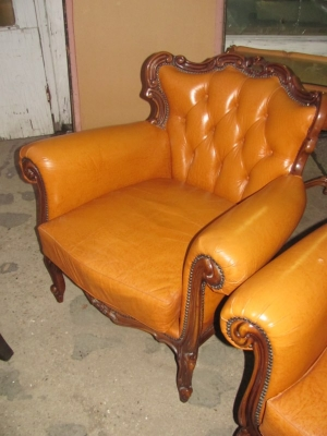 15A12109 PAIR OF LOUIS XV LEATHER CHAIRS (3).JPG