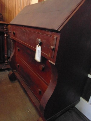 $295.00  MAHOGANY SECRETARY  NEEDS REPAIR TO HINGES DSC00525.JPG