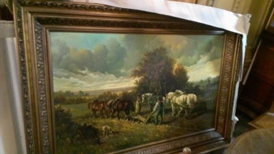 15A23010 VERY LARGE FRAMED FARM LANDSCAPE OIL PAINTING  (1).jpg