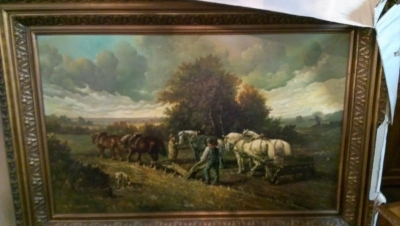 15A23010 VERY LARGE FRAMED FARM LANDSCAPE OIL PAINTING  (2).jpg