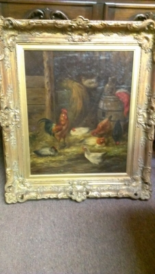 15A23011 BEAUTIFUL FRAMED OIL PAINTING OF CHICKENS IN BARNYARD (1).jpg