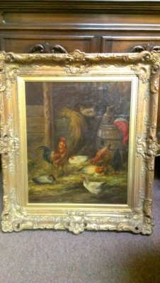 15A23011 BEAUTIFUL FRAMED OIL PAINTING OF CHICKENS IN BARNYARD (2).jpg