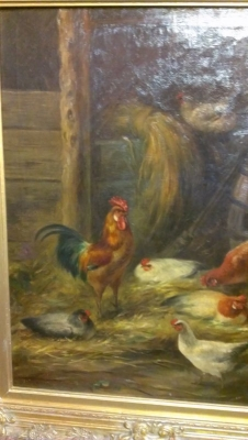 15A23011 BEAUTIFUL FRAMED OIL PAINTING OF CHICKENS IN BARNYARD (3).jpg