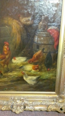 15A23011 BEAUTIFUL FRAMED OIL PAINTING OF CHICKENS IN BARNYARD (4).jpg