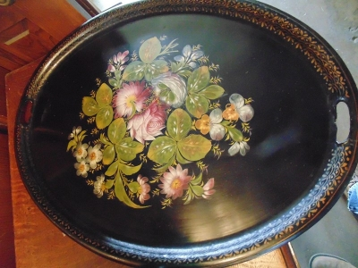 14C24474 LARGE PAINTED FLORAL TOLE TRAY