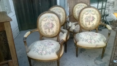 15A23519-20 2 PAIRS OF OVERSIZE LOUIS XVI FLORAL EMBROIDERY ARM CHAIRS (1).jpg