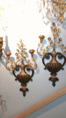 15A23525 PAIR OF URN ITALIAN SCONCES WITH GOLD LEAVES.jpg