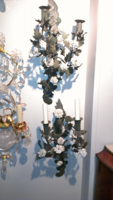 15A23529 PAIR OF GREEN WITH WHITE FLOWER IRON WALL SCONCES.jpg