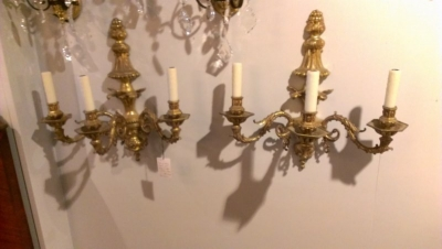 15A23531 PAIR OF HEAVY THREE ARM BRONZE SCONCES.jpg