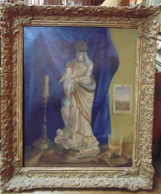 14C24478 OIL PAINTING OF MARY AND JESUS STATUE IN  FRAME