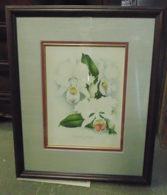 14C24480 ENGRAVING OF FLOWERS IN FRAME