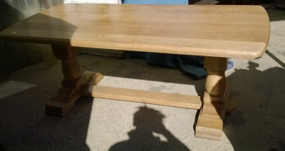 15A23 SMALL BLONDE TRESTLE TABLE.jpg
