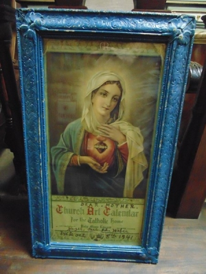 14C24484 IMMACULATE HEART OF MARY IN BLUE FRAME