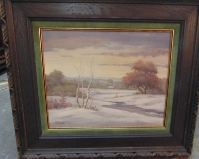 14C24280 WINTER OIL PAINTING LANDSCAPE BY C.P. MONTAGUE