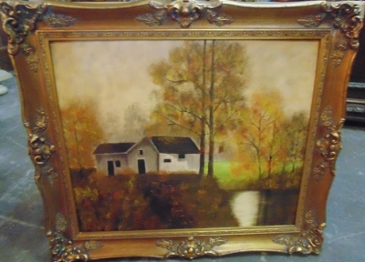 14C24252 COTTAGE BY POND OIL PAINTING