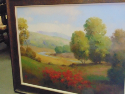 14C24251 LARGE LANDSCAPE OF TREES AND RED FLOWERS