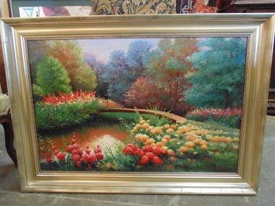 14C24100 OIL PAINTING OF BRIDGE AND GARDENS
