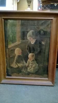 EARLY FRAMED OIL MOTHER AND CHILDREN.jpg
