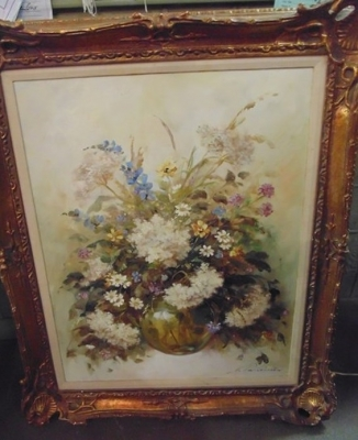 14C24520 LARGE STILL LIFE FLORAL PAINTING