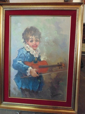 14C245 BOY CLOWN VIOLINIST OIL PAINTING