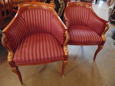 14C245 SET OF 4  EMPIRE STYLE CHAIRS WITH DOLPHIN FISH ELEMENTS (1)