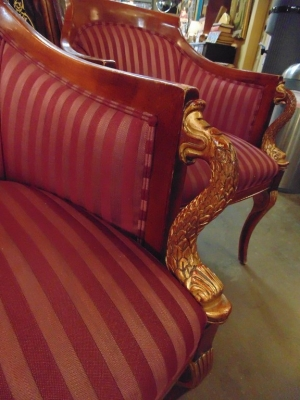 14C245 SET OF 4  EMPIRE STYLE CHAIRS WITH DOLPHIN FISH ELEMENTS (2)