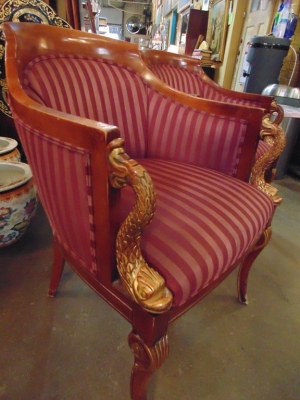14C245 SET OF 4  EMPIRE STYLE CHAIRS WITH DOLPHIN FISH ELEMENTS (3)
