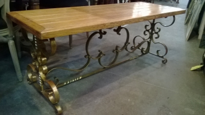 15C03022 WROUGHT IRON BASE OAK TOP COFFEE TABLE OR BENCH  (1).jpg