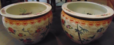 14C24550 AND 24551 CHINESE FISH BOWL (2)