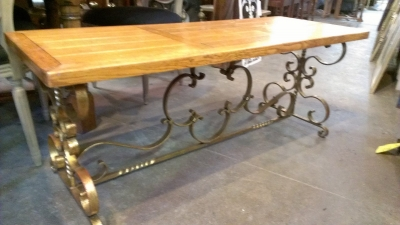 15C03022 WROUGHT IRON BASE OAK TOP COFFEE TABLE OR BENCH  (3).jpg