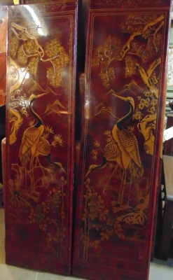 14C24552 PAIR ASIAN LAQUER SCREENS NOT OLD (1)