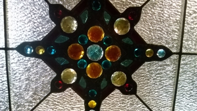 12D21048 HUGE WOOD AND STAINED GLASS CHANDELIER (5).jpg