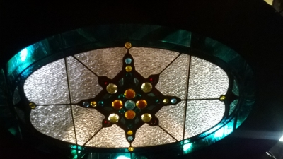12D21048 HUGE WOOD AND STAINED GLASS CHANDELIER (6).jpg