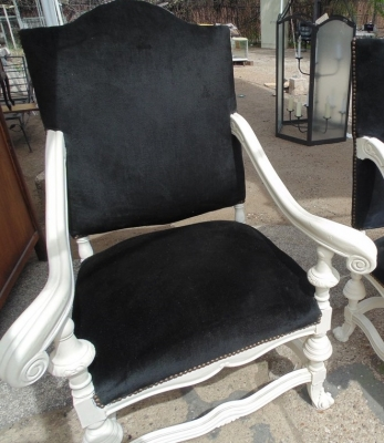 13C07014 PAIR LARGE WHITE THRONE STYLE CHAIRS