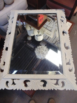 13A15045  SPANISH WHITE FRET CARVED MIRROR