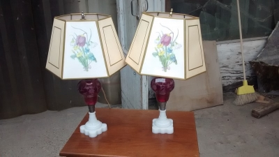 15D22115 PAIR OF CRANBERRY GLASS LAMPS WITH VINTAGE SHADES (1).jpg