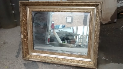 15D23647 FANCY GILT FRAMED MIRROR WITH MISSING TRIM.jpg