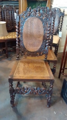 15E04401 PAIR OF FRENCH CARVED CHAIRS WITH ANGEL DETAIL AND CANED SEATS AND BACKS (1).jpg