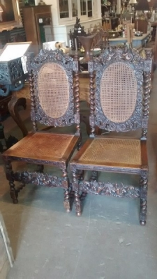 15E04401 PAIR OF FRENCH CARVED CHAIRS WITH ANGEL DETAIL AND CANED SEATS AND BACKS (5).jpg