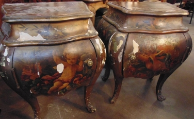 14C31245 PAIR AS IS BOMBE CHESTS GREAT FOR PAINTING