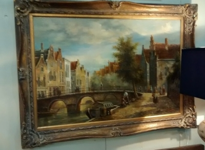 15D20102 FRAMED BELGIUM CANAL OIL PAINTING (1).jpg