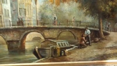 15D20102 FRAMED BELGIUM CANAL OIL PAINTING (2).jpg