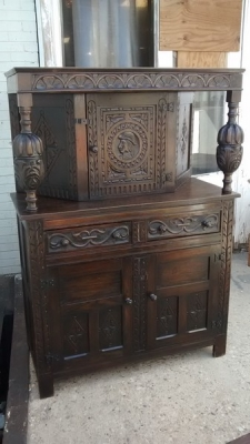 15D27108 FRENCH SMALL DARK OAK COURT CUPBOARD (3).jpg