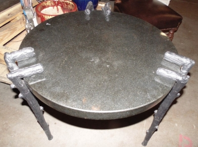14C31249 GRANITE AND METAL FAUX BOIS TABLE