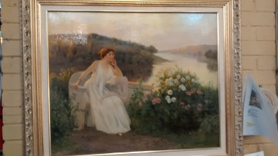 15D17503 FRAMED OIL PAINTING OF BEAUTIFUL WOMAN BY THE RIVERSIDE C. 1901 BY JEAN BEAUDUIN (1).jpg