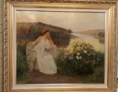 15D17503 FRAMED OIL PAINTING OF BEAUTIFUL WOMAN BY THE RIVERSIDE C. 1901 BY JEAN BEAUDUIN (2).jpg