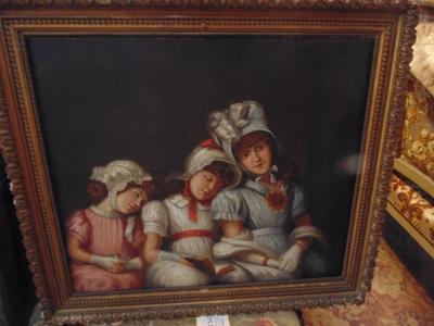 14C31240 OIL PAINTING OF THREE LITTLE GIRLS