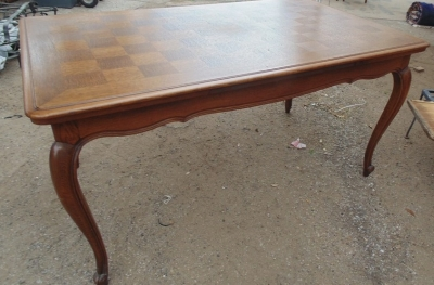 14D02010 LOUIS XV DARK OAK DRAWLEAF TABLE WITH SQUARES